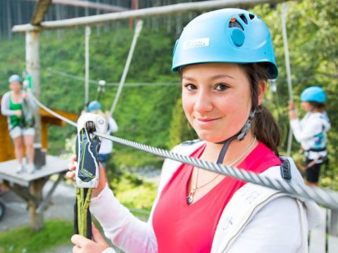 Ready to have fun in the high-rope-park in Saalbach Hinterglem